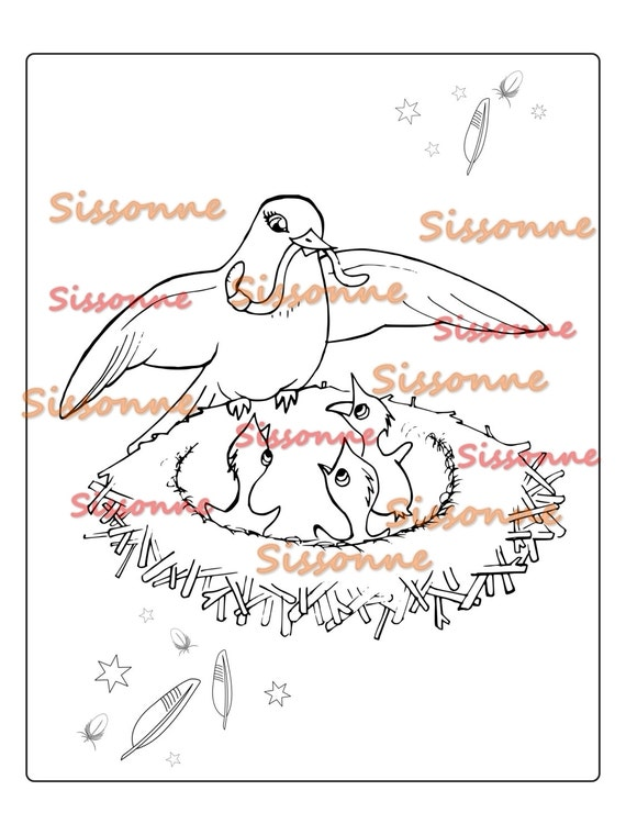 Kids Mother Bird and Baby Birds Coloring Page - Instant PDF Download -  Printable Bird Coloring Book - Adult Coloring Sheet
