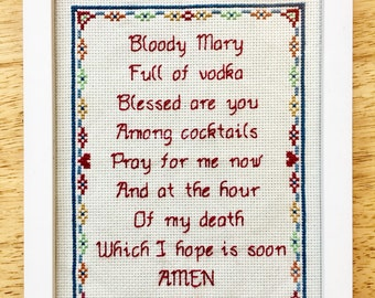 PATTERN Instant Download Bloody Mary Full of Vodka Hangover Prayer Drinking Funny Subversive Cross Stitch PDF File