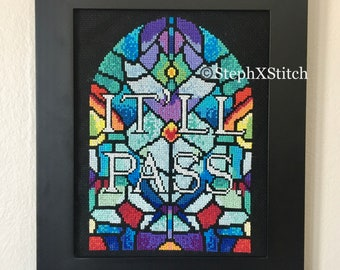 PATTERN It'll Pass Stained Glass Fleabag Cross Stitch Hot Priest Stitch Ornate Instant Download DIY PDF