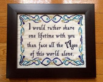 PATTERN LOTR Cross Stitch Arwen Quote One Lifetime Love Quote Romantic Crossstitch Pattern