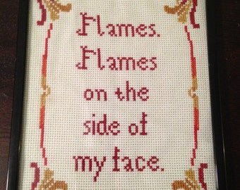 PATTERN Instant Download Flames. Flames On The Side of My Face Cross Stitch Art