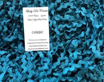 Rick Rack Trim - Caribe - Hand-Dyed 100% Cotton Half Inch DMC 3848