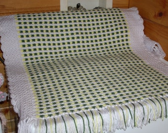 Crocheted Baby Afghan - green, yellow, white