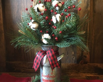 farmhouse christmas arrangementchristmas cotton decorgalvanized decorbuffalo plaid decorrustic christmas