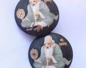 Japanese Toshikane Earrings, Vintage Arita Japan Porcelain Clip Ons, Fukurokuju God of Wisdom, Japanese Jewelry