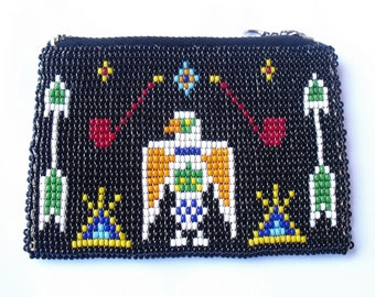 Handmade Native American Style Triple Feather Tribal Seed Bead Zipper Coin Purse Change Pouch