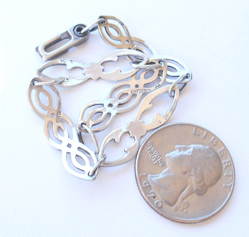 Colonial Williamsburg Jewelry Hallmarked IC STERLING Vintage Sterling Silver Bracelet Celtic Style Silver Link Braclet