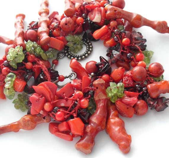 Branch Coral Choker Necklace with Peridot and Garn