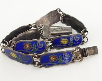 Vintage Enamel Link Bracelet in Sterling Silver, Hallmarked Thailand Sterling, Delicate Hand Painted Enamel