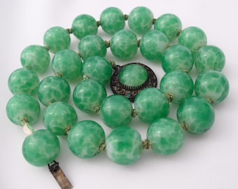 Antique Peking Glass Beaded Necklace, Chinese Crumb Glass Beads, 1920s China Art Deco Jewelry