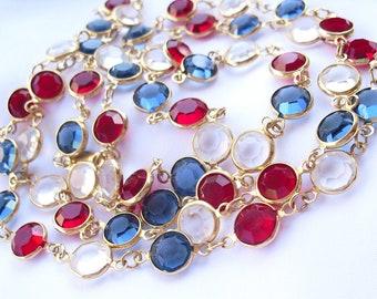 Vintage Swarovski Crystal Necklace, Patriotic Red White & Blue, Fourth of July Patriotic Jewelry with Swarovski Swan