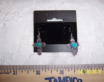 Vintage Filigree and Blue stone cross earrings. Sterling silver.