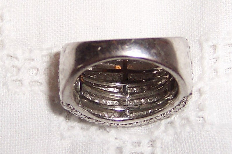 Sterling over brass. EXTENDED SALE 20/% OFF Vintage Band Diamond ring