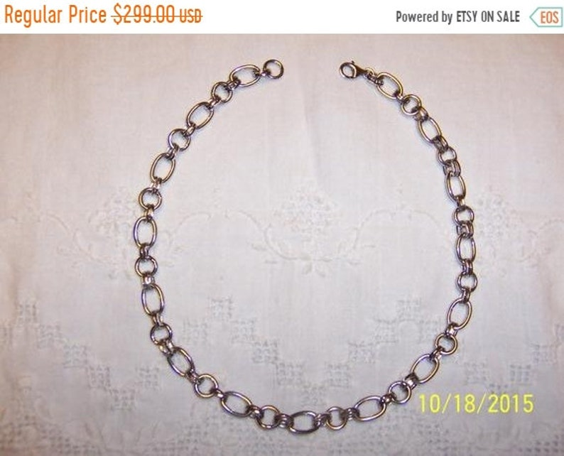 Sterling silver. EXTENDED SALE 20/% OFF Vintage Big Oval  and round links chain necklace