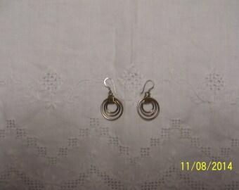 Vintage Circles Dangle earrings. Sterling Silver.