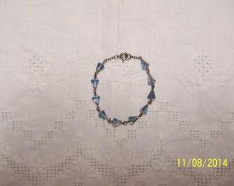 Vintage Blue Crystal bracelet. Sterling silver.