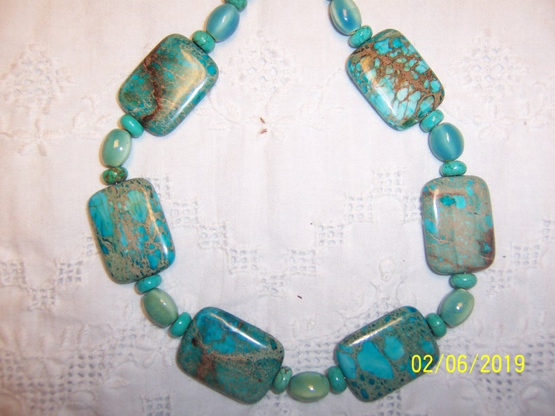 green magnesite and ceramic necklace and earrings set Sterling silver and platinum plated. EXTENDED SALE 20/% OFF Blue jasper