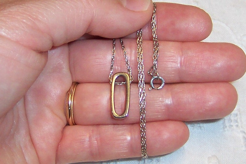 Sterling silver. EXTENDED SALE 20/% OFF Vintage Oval-Rectangle pendant with chain