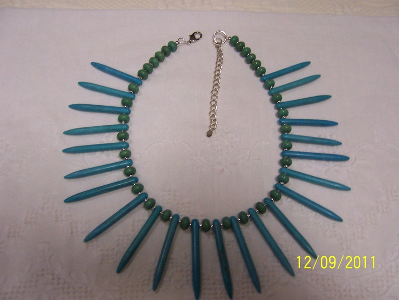 EXTENDED SALE 20/% OFF Blue and green magnesite spikes necklace Sterling silver.