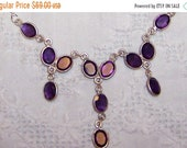 CLOSING STORE 35 ALL. Vintage Amethyst Necklace. Sterling Silver.