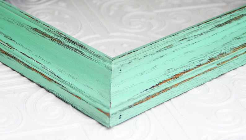 Picture Frame Mint Green Shabby Chic Vintage Hand Painted Distressed Frame Made to Order