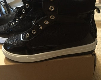 Black Sparkle High Top Sneakers