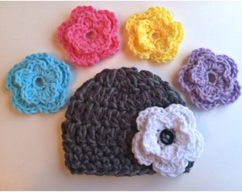 Interchangeable Flower Chunky  Beanie Hat