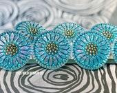 Turquoise Czech buttons Turquoise blue and metallic gold Czech glass flower button 18mm