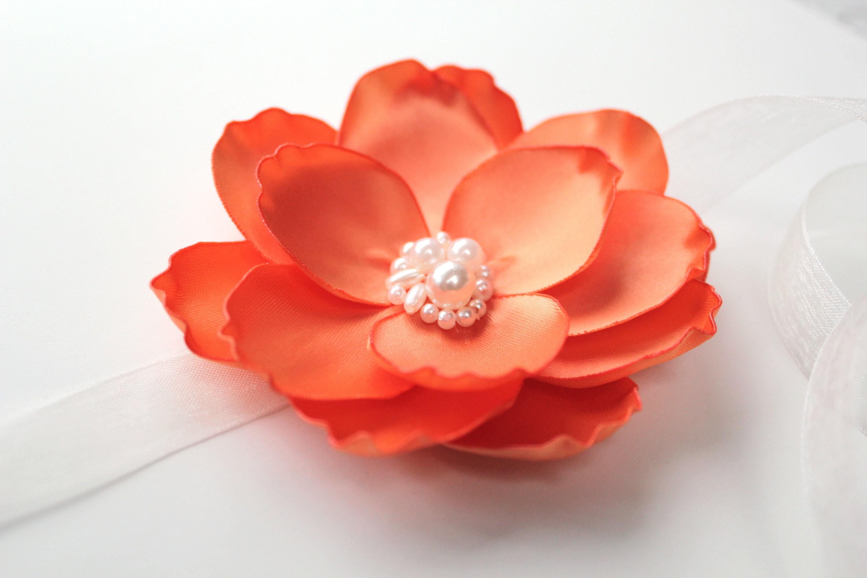 Orange Magnolia Flower Brooch Hair Clip Applique Wrist Corsage Etsy