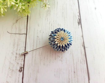 Flower lapel pin for men and women, Boutonniere brooch, Kanzashi flower brooch, Blue chrysanthemum lapel pin, Scarf pin, Stick pin