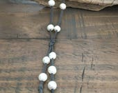 FRESHWATER PEARL SUEDE Necklace, Beautiful Large White Rice Pearls Dark Grey Faux Suede, Gray Suede Necklace