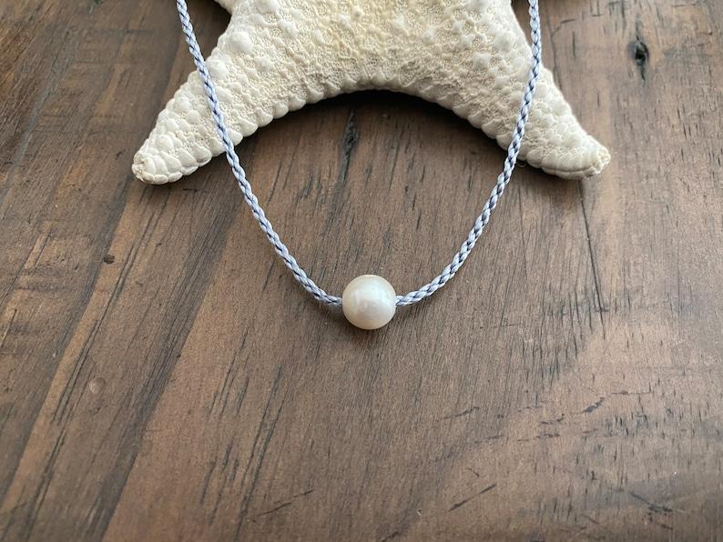 Waterproof Twisted Grey Silver Freshwater Pearl Choose Necklace Length Cording SWIMMING MERMAID PEARL Necklace Round White Pearl