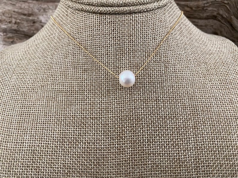 14K Gold Plated Sterling Silver Beach Wedding DAINTY GOLD PEARL Necklace Bridesmaid Round Freshwater Pearl Choose 16 or 18 Length