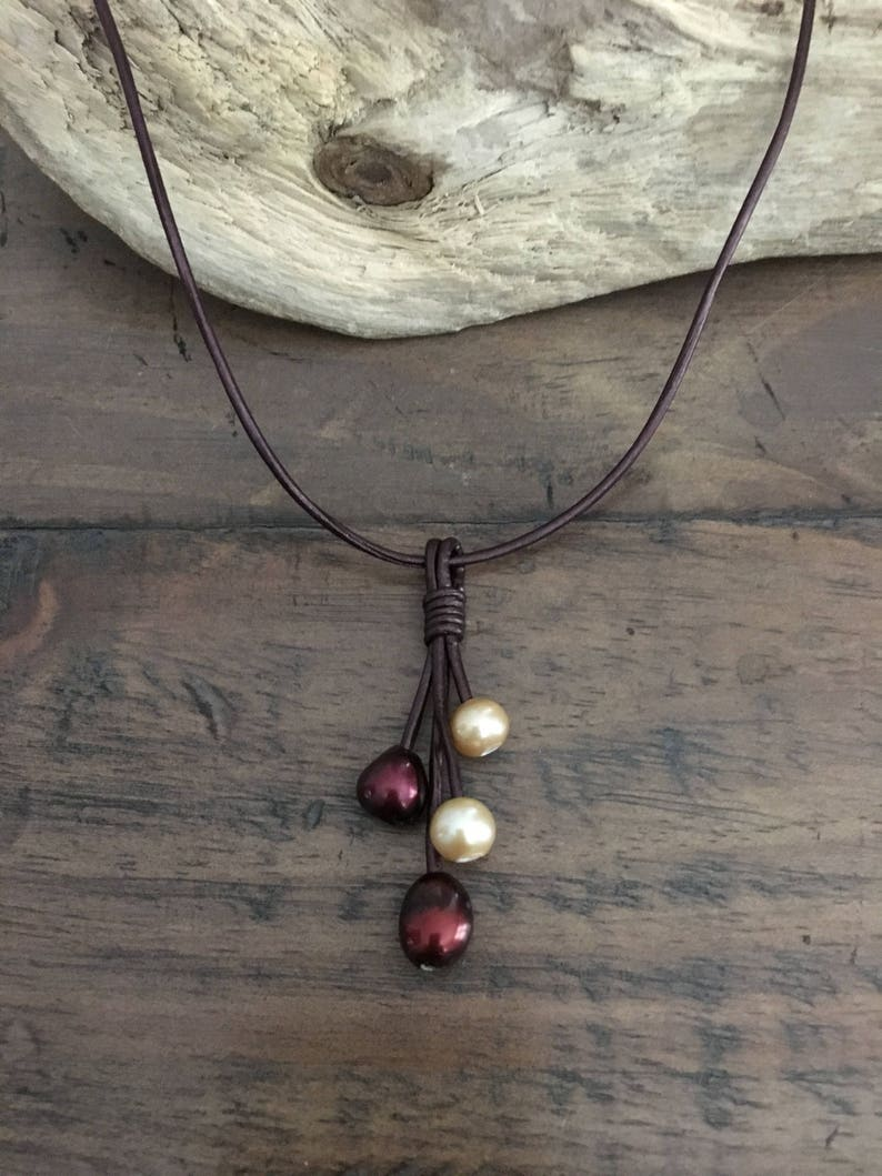 USA Seller Garnet /& Gold FRESHWATER Pearl and Metallic Brown Leather Tassel Necklace Round Pearl Seminoles Any Size Noles FSU
