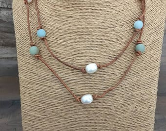 Long AMAZONITE, LEATHER & PEARL Necklace, Knotted Brown Leather, Freshwater Pearls, Amazonite, Wear long/double necklace/multi-wrap bracelet