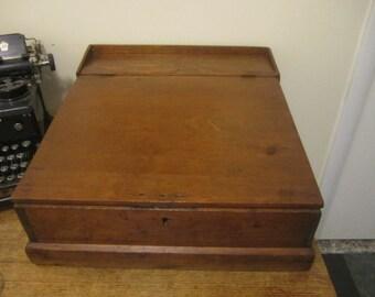 Gorgeous Unique Table Top Desk. Antique Table Top Desk. Rustic Home Decor.  Office Study Distressed Desk Square Nails