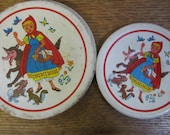 Tin Litho Tea Set plates and saucers. Red Riding Hood and the Wolf. 1950 39 s