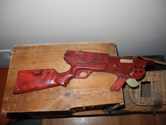 Vintage toy wooden machine gun