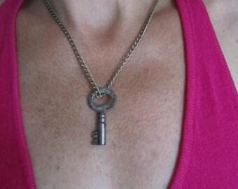 Vintage Skeleton Key on link chain. Your choice of length Alice in Wonderland