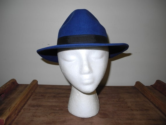 Awesome Electric Blue 100% Wool Fedora.  Ladies Fe