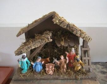 Vintage Nativity Creche. Made in Italy. Shabby chic Nativity / Creche. Primitive Creche. Distressed Nativity.