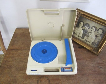 Fisher Price Turntable FP825. Vintage Fisher Price Record Player. Blue Accents Fisher Price