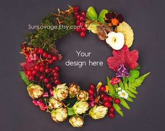 Styled Flower Flatlay Stock photography - Floral mockup - natural wreath high-resolution photo - Digital download