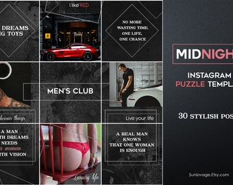 Midnight Instagram PUZZLE Template - 30 stylish Instagram posts - Instagram posts - Instagram feed - grid
