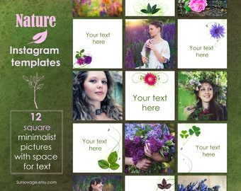 Nature Instagram Templates - 12 minimalism pictures with space for text - Instagram posts - Social media pack
