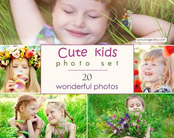 Cute kids photo set - Collection of wonderful soulful children pictures - 20 high-resolution photos - Digital download