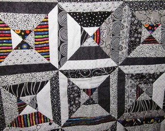 Black and White Stripes Lap Quilt