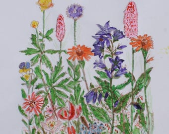 Watercolor painting of Wild Flowers