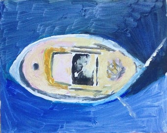 Oil painting of Fishing Boat from Above