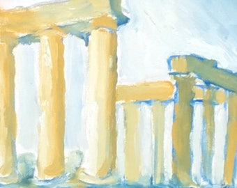 Oil painting of an Ancient Greek Temple